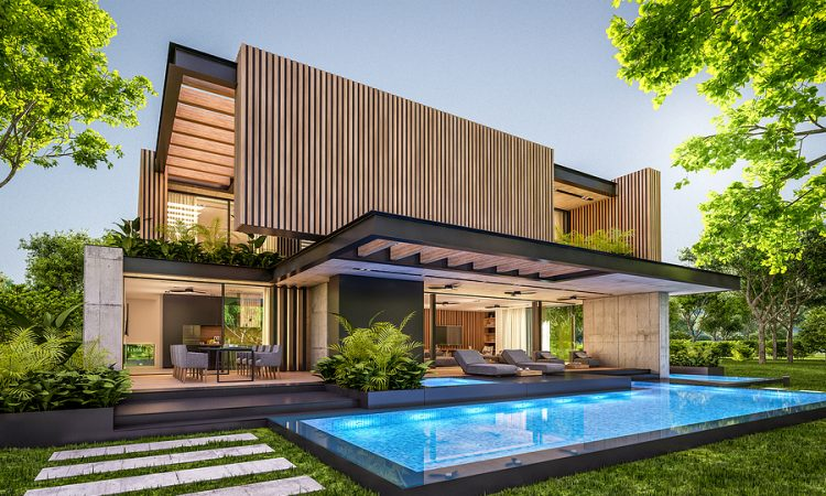 Modern home made by pool builders in Byron Bay