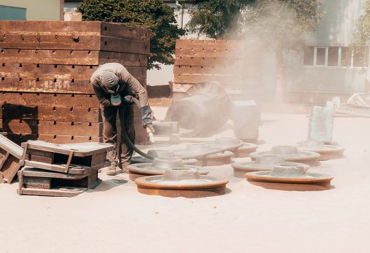 Sand blasting at a Sydney industrial plant