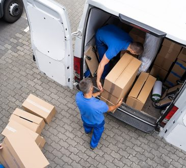 Professional removalists in Liverpool loading boxes in a truck